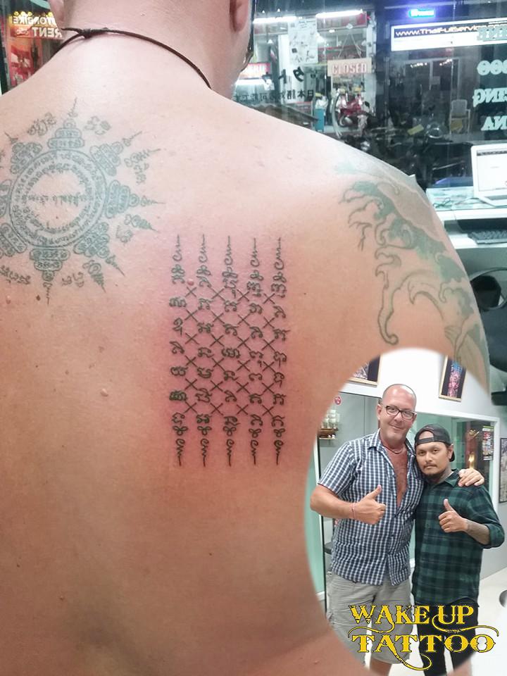 Sak Yant tattoo by Wake up tattoo Phuket at Patong Beach