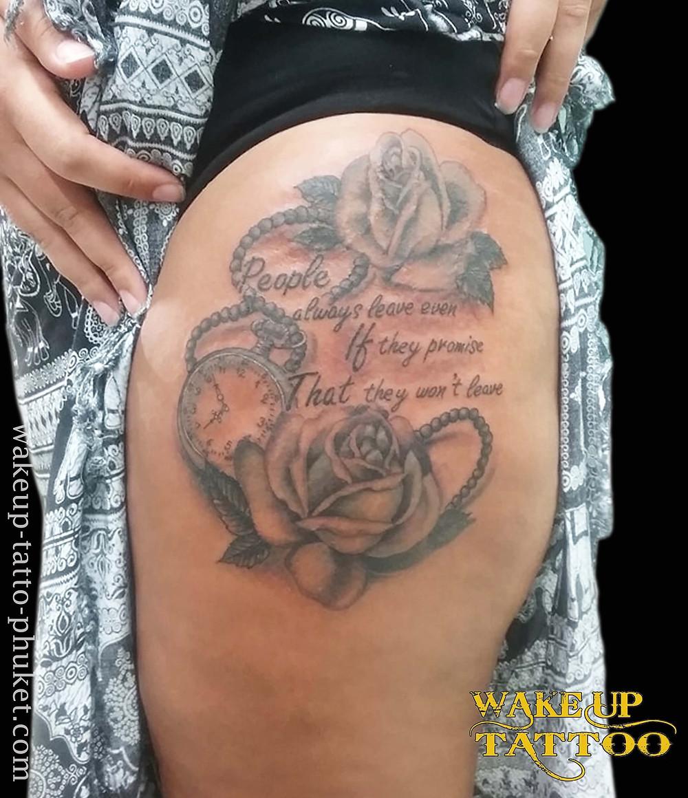 Rose and Clock Tattoos by Wake up Tattoo Phuket