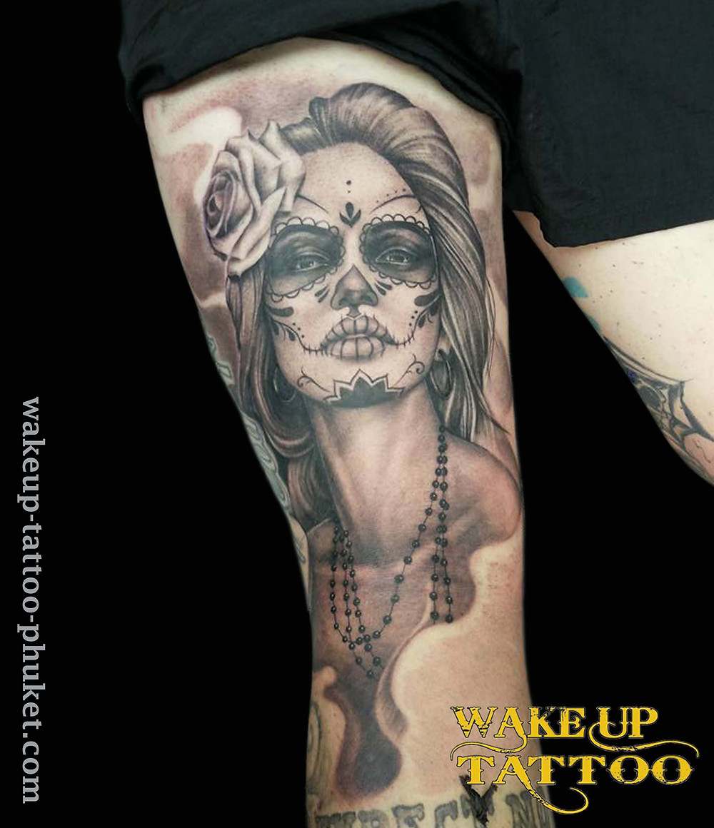Day of the dead leg Tattoo by Wake up Tattoo Phuket