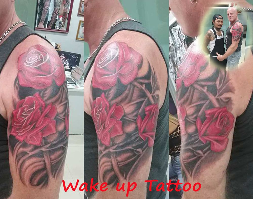 Rose tattoo by Wake up Tattoo Phuket