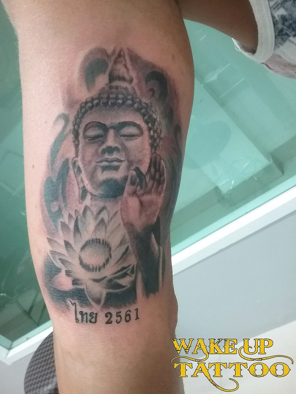 Buddha and Lotus Tattoo by Wake up Tattoo Phuket