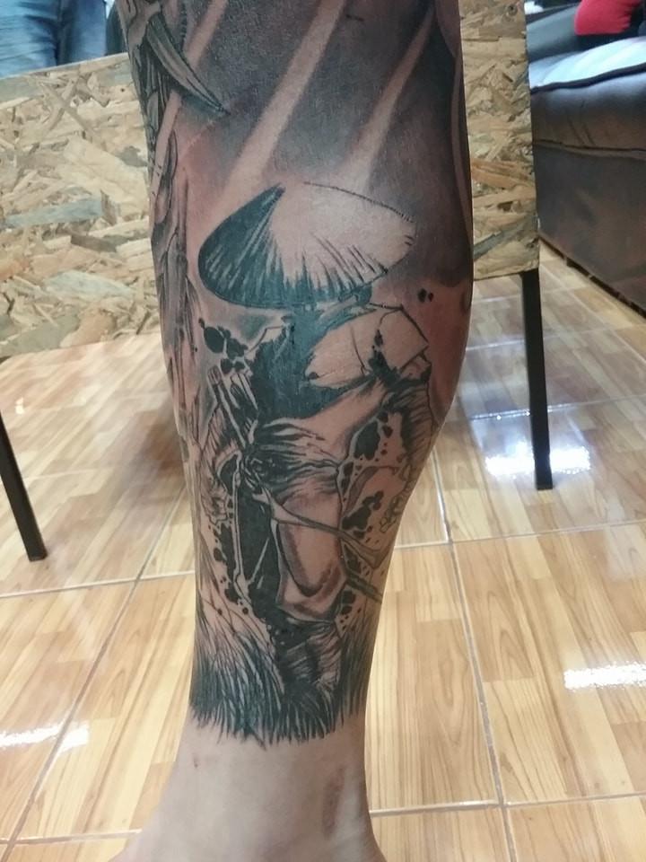 Samurai tattoo by Wake up Tattoo Phuket at Patong Beach Thailand