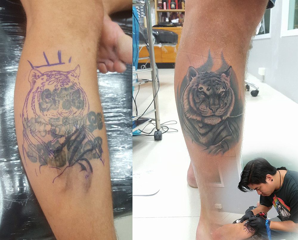 Cover up Tattoo by Wake up Tattoo phuket at Patong Beach