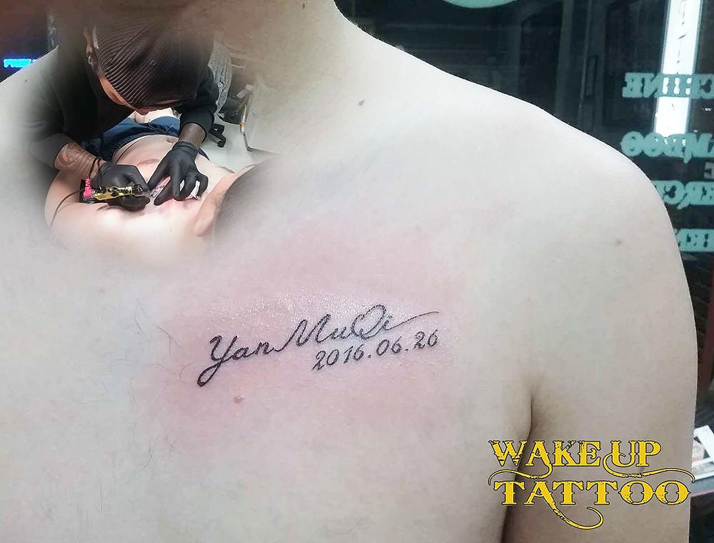 letter tattoo by Wake up Tattoo Phuket