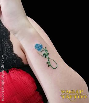 Blue Rose Small Tattoo by Wake up Tattoo Phuket