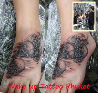 Skeleton Tattoo by Wake up Tattoo Phuket