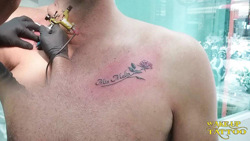 rose tattoo by Wake up tattoo Phuket in Patong