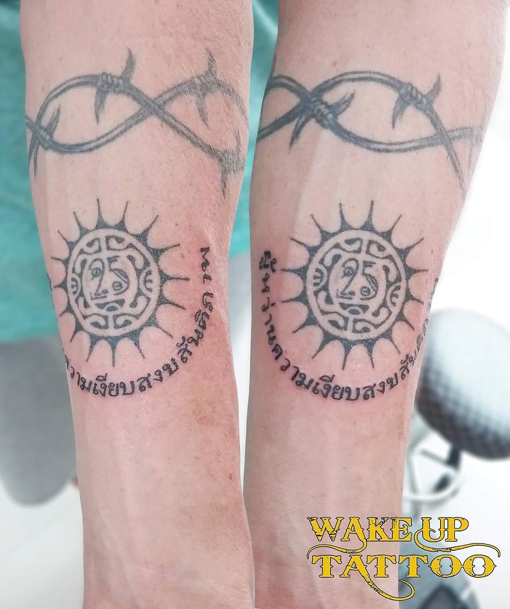 Thai character Tattoo by Wake up Tattoo