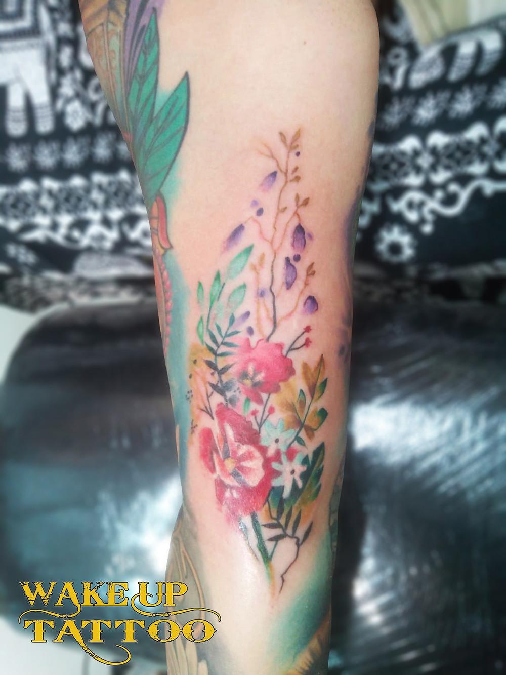 Flower tattoo by Wake up Tattoo Phuket at Patong Beach