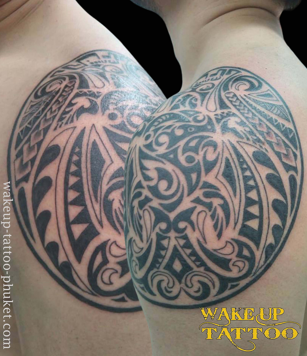 Maori Tattoo on the shoulder by Wake up Tattoo Phuket