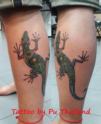 lizard coloeful tattoos by Wake up Tattoo in Phuket