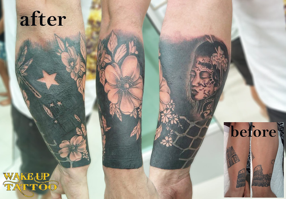 Cover up job by Wake up Tattoo Phuket