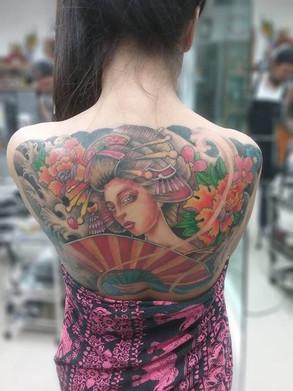 Japanese Geisha Tattoo by Wake up Tattoo Phuket