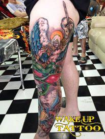 leg tattoo by Wake up Tattoo Phuket