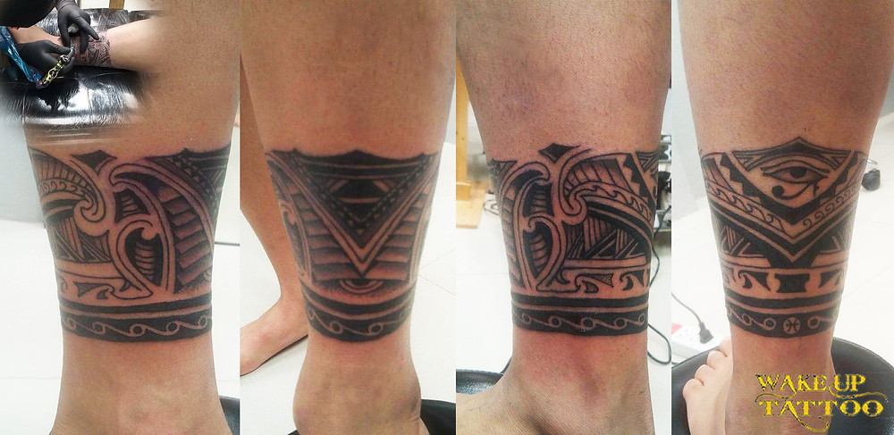 Maori leg band tattoo by Wake up tattoo at Phuket Patong Beach