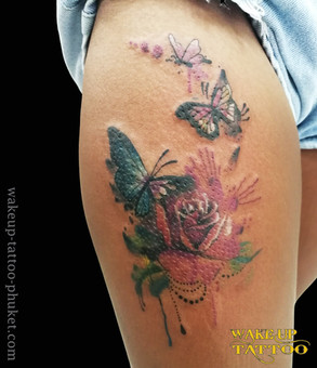 Butterfly tattoo with Flower Tattoo by Wake up Tattoo Phuket