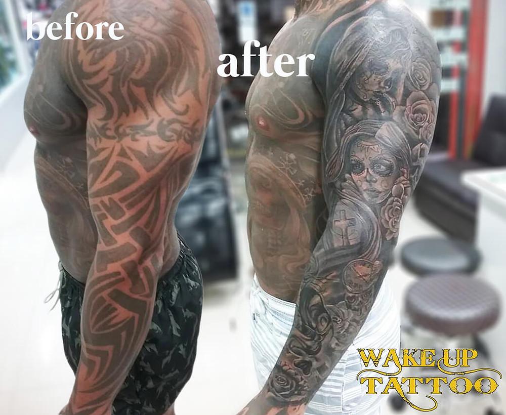 Cover up full sleeve tattoo by Wake up Tattoo Phuket