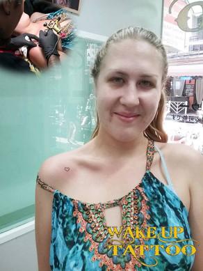 tiny heart tattoo by Wake up tattoo Phuket at Patong Beach