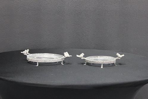 Vintage Gray Bird Glass Plates