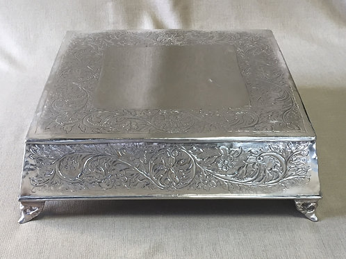 Silver Square Ornate Cake Plate