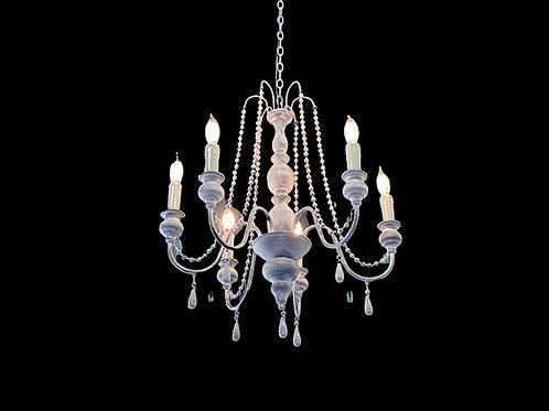 Wooden Bead 6 light Chandelier