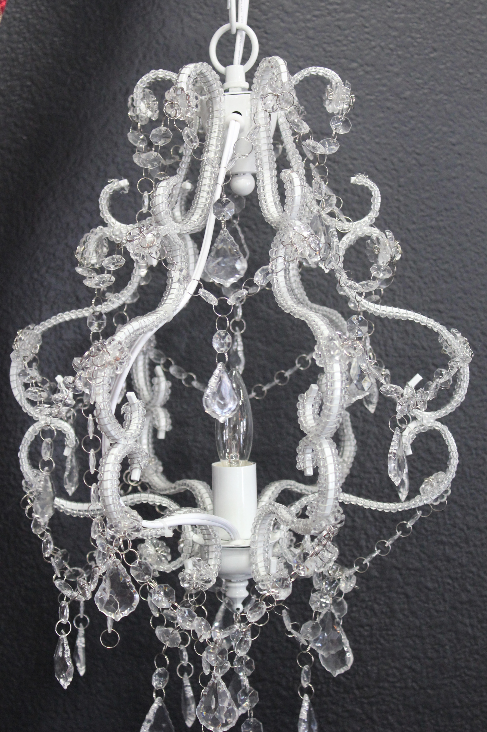 Small White Bling & Iron Chandelier