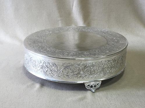 Silver Round Ornate Cake Plateau