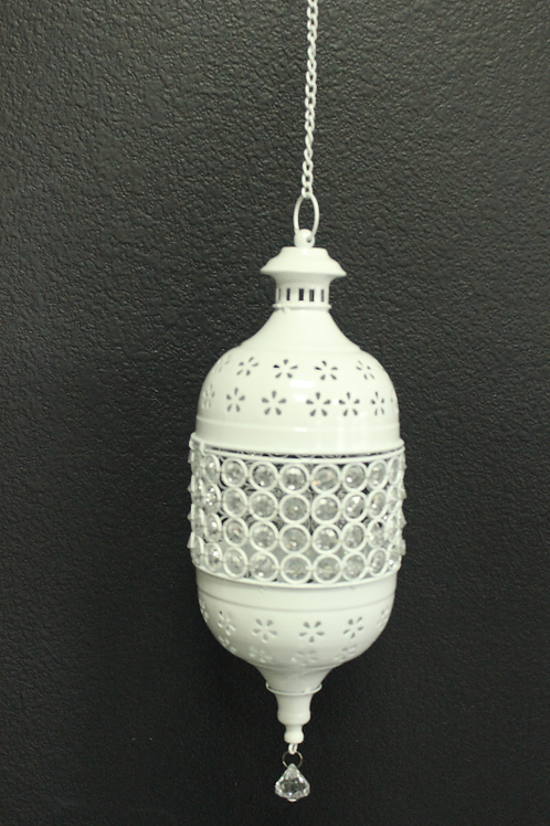 Lantern Hanging Beaded White
