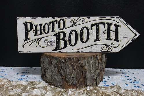 Photo Booth This Way Hand Painted Sign