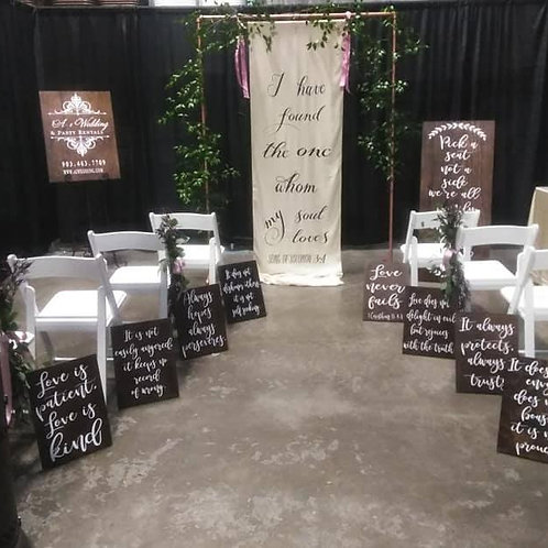 Love is patient, love is kind aisle signs