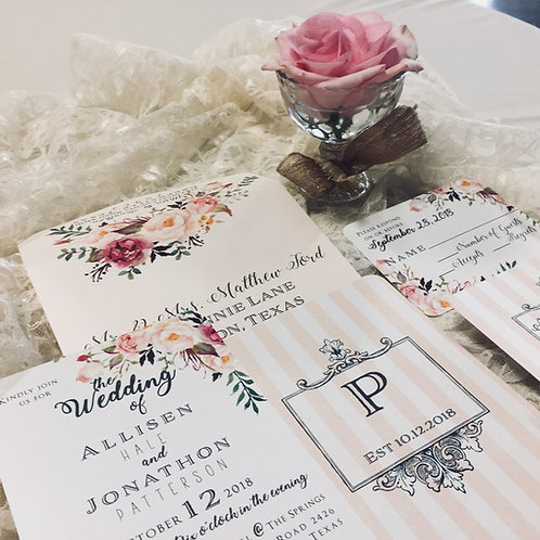 Blush & Burgundy Floral Invitations