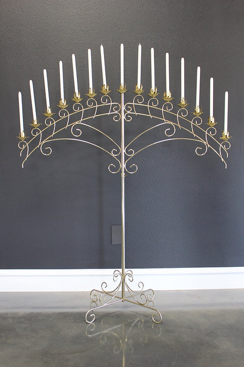 Brass 15 Candle Fan Candelabra