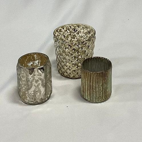 Mercury Glass Votives with LED lights