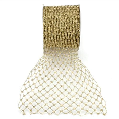 """6"""" x 10 yard Gold Mesh Diamond Ribbon"""