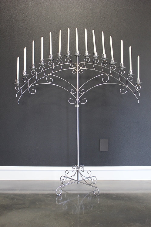 Chrome 15 Candle Fan Candelabra