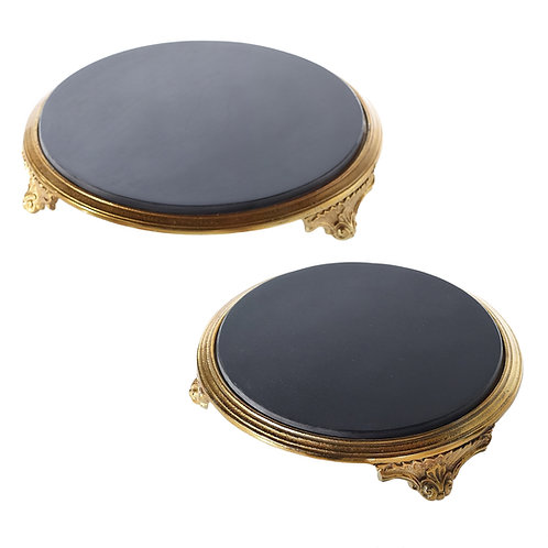 """Black Marble Cake Stand 18"""""""