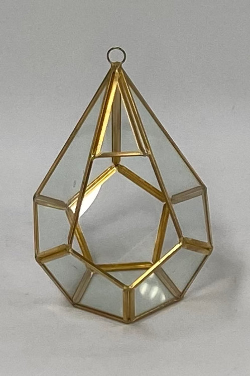 "Glass Terrarium Diamond 5.5"" Wide x 8"" Tall"