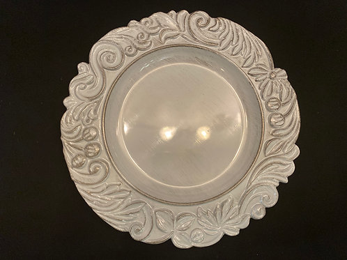 Gray Ornate Charger Plates