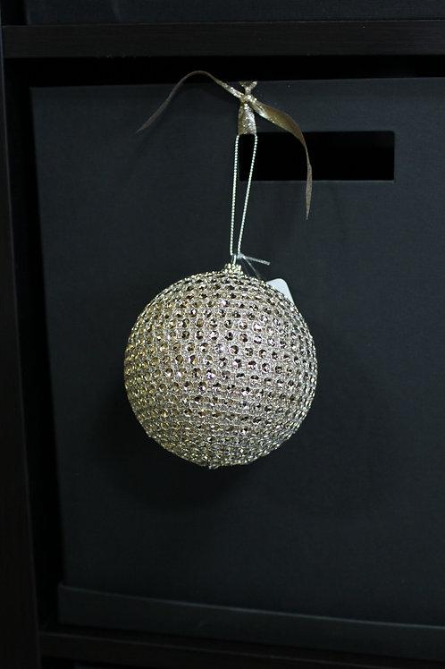 Gold Rhinestone Round Ornament