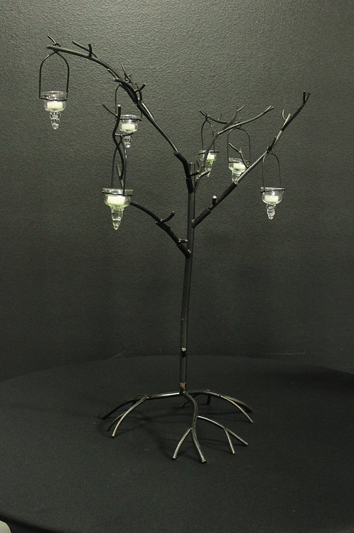 3.5' Tall Metal Tree with 6 Hanging Votives