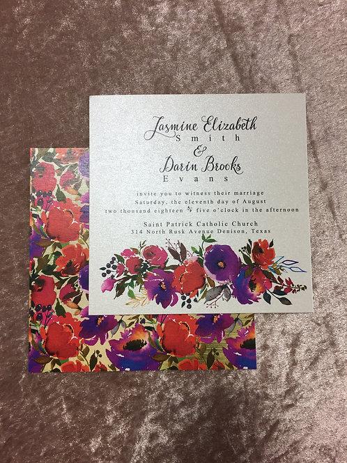 Red & Purple Floral Invitation