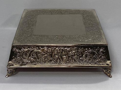 Silver Square Ornate Cake Plate