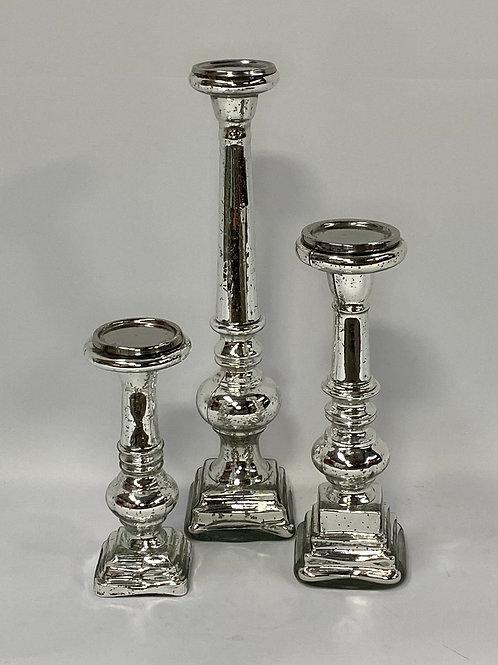 Silver Mercury Glass Candlestick