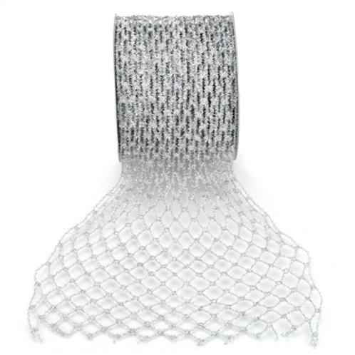 "6"" x 10 yard Silver Mesh Diamond Ribbon"