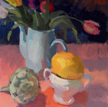 Still Life with Tulips and Melon