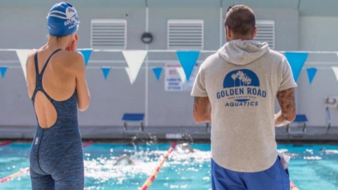 Coach Mike Lucero at the Verdugo pool during practice