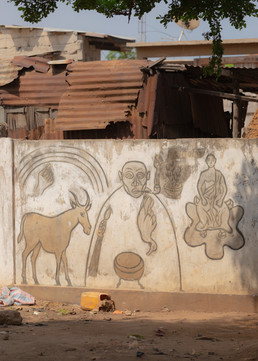 Traditional drawings on one of the market walls.