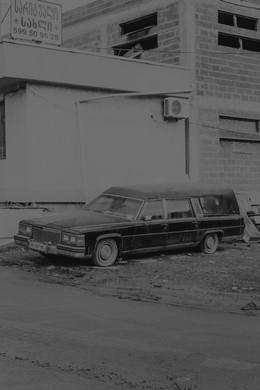 An hearse parked near the Suburtalo cemetery.