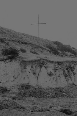 A cross near a landslide in Mukhatgverdi area, outside Tbilisi.