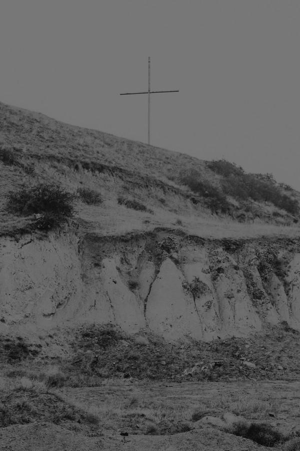 A cross near a landslide in Mukhatgverdi area, outside Tbilisi.